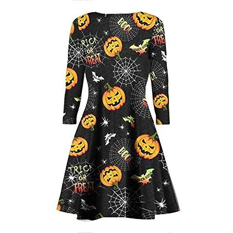 Janisramone Womens Ladies New Pumpkin Skull Web Smock Print Flared Fancy Costume Halloween Mini Swing