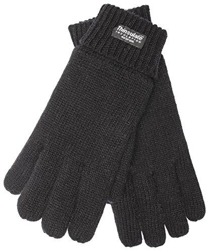 EEM Damen Strickhandschuh JETTE mit Thinsulate™ Thermofutter, warm, 100% Wolle, Winterhandschuh; schwarz, Größe M (Thinsulate Damen Handschuhe)