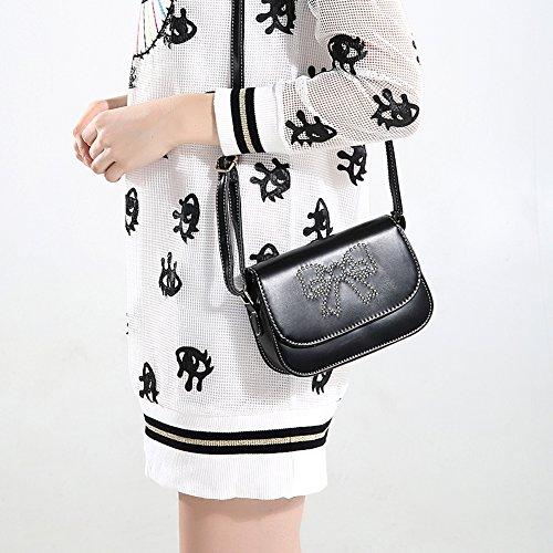 Faysting EU borsa a tracolla donna vari colori scelti PU pelle farfalla bow stile buon regalo nero