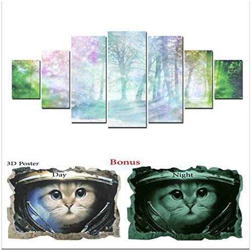 Grande décoration murale sur toile Startonight Bundle abstraite Forêt, Big encadrée Peinture, cadeau gratuit Poster 3d Chat pour enfants