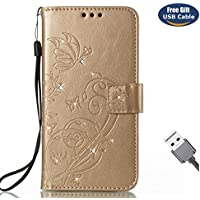 Funda Galaxy S8 Plus,Funda Cover Galaxy S8 Plus,Aireratze Slim Case de Estilo Billetera Carcasa Libro de Cuero,Carcasa PU Leather Con TPU Silicona Glitter Bling Diamond Butterfly en relieve planta pintura china Case Interna Suave [Función de Soporte] [Ranuras para Tarjetas y Billetera] [Cierre Magnético] para Samsung Galaxy S8 Plus (Oro) (+ Cable USB)
