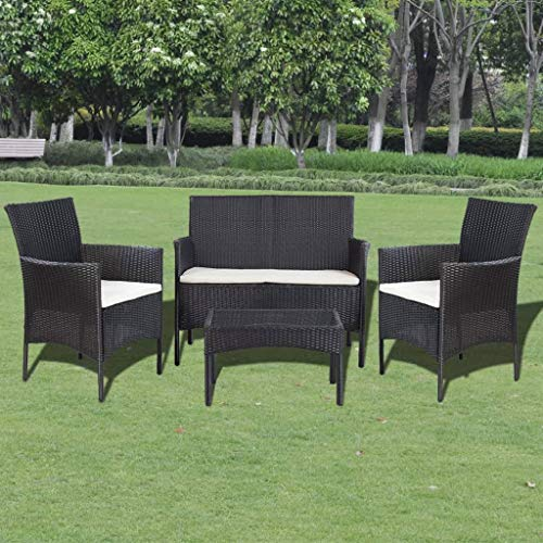 Tidyard- Gartensofa-Set 7-TLG. Poly Rattan | 1 x 2-Sitzer-Sofa 2 x Sessel 1 x Couchtisch 3 x Sitzpolster