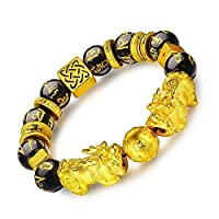 Prime Feng Shui Bracelet Porsperity Double Pi Xiu/Pi Yao Black Mantra Bead Bracelet with Golden Dice Attract Wealth and Good Luck