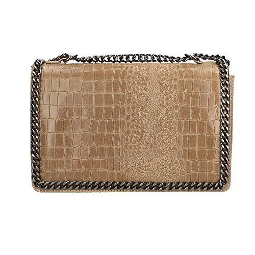 Chicca Borse Frau Clutch Kleine Schultertasche mit Schulterriemen, Croco Muster, echtes Leder Made in Italy - 30x20x10 cm -