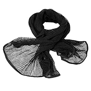 Camouflage Netting Scarf - Hunting Scrim Army Net Headwrap with Camo Option (Black)