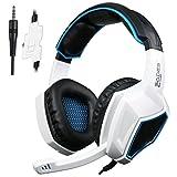 Sades Xbox One PS4 Gaming Headset Over Ear Auriculares con Micrófono para Mac / PC / Laptop / Xbox 360 - Negro / Blanco