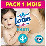 LOTUS BABY TOUCH  – Couches Taille 4 + (10-16 kg) - lot de 6 packs de 36 couches (x216 Couches)