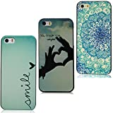 Lanveni Gemalt 3x Hardcase für iPhone SE / iPhone 5 5S 5G Handyhülle Schutzhüllen Shell Abdeckung Back Cover(Schön Blumen--happy+ Blau Lieben Herz--simile + Finger Herz)