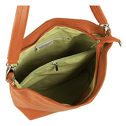 OBC Made in Italy Cuir Véritable Pour Femme Sac Épaule À Bandoulière Messenger Clutch Ipad/Cendrier jusqu'à env. 10 Pouces City Bag env. 36x24x14 cm (LxHxP) - Gris Clair Cognac V1