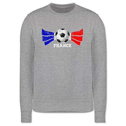 EM 2016 - Frankreich - France Fußball Vintage - Herren Premium Pullover Grau Meliert