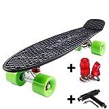 FunTomia Planche à roulettes Mini-Board Skateboard 57cm - avec roulements ABEC-11 - Style Retro Cruiser en Plastique (Noir - Roues Vert + T-Tool)