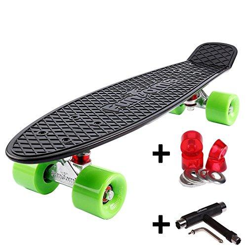 FunTomia Mini-Board 57cm Skateboard mit oder ohne LED Leuchtrollen inkl. Alu Truck und Mach1 Abec-11 Kugellager