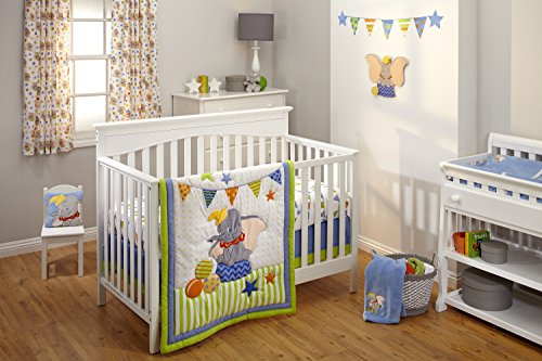 Disney Dumbo 3 Piece Crib Bedding Set, Green/Blue by Disney