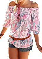 X-Future Women Strapless Floral Half Sleeve Beach Blouse Tops T-Shirt Pink US XS