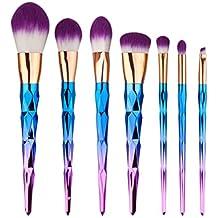 Gracelaza 7 Pcs brochas de maquillaje cosméticas Kit con bolsa enrollada de cuero - profesional cepillos / pinceles conjunto para Corrector Sombra de Ojos Ceja Fundación Polvo #1