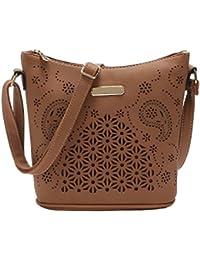 VOLYER Women's Vintage Crossbody Shoulder Bag Purse Hollow Out Bucket Bag Medium Size