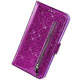 Herbests Kompatibel mit Samsung Galaxy S9 Plus Handyhülle Leder Hülle Reißverschluss Handytasche Bling Glänzend Glitzer Flip Case Cover Tasche Brieftasche Klapphülle Magnet Standfunktion,Lila