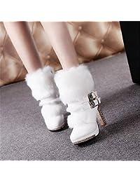 ZHZNVX HSXZ Charol Zapatos de Mujer Otoño Invierno Botas de Nieve Botas de Moda Botas Botas de Combate nulo Chunky...