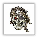 2x Pegatinas de vinilo de pirata de calavera Scary Horror Halloween espeluznante # 7693