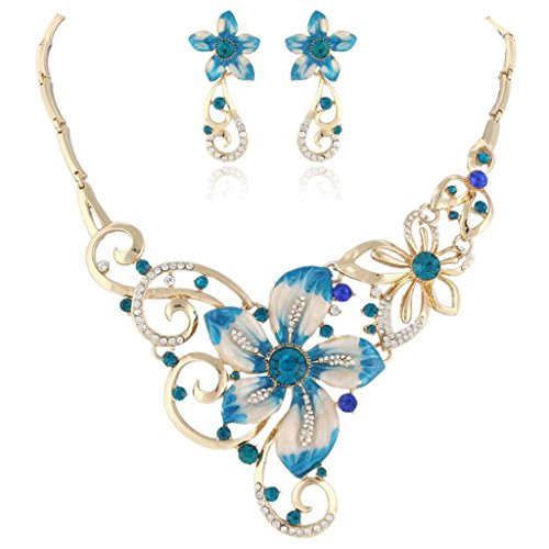 EVER FAITH Enamel Art Nouveau Flower Necklace Earings Set Austrian Crystal