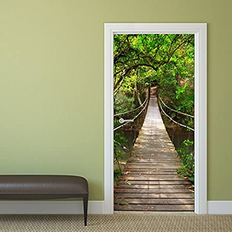 Papel pintado para puerta Jungle Catwalk 92 x 202 cm puente colgante Deco.deals