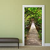 Papel pintado para puerta Jungle Catwalk 92 x 202 cm puente colgante Deco.deals