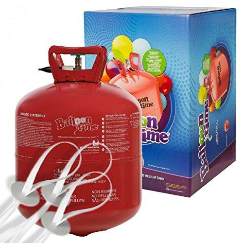 Preisvergleich Produktbild Helium Ballongas 420 Liter XXL Einwegflasche für Ballons aus Latex oder Folienballons + 50 Stück Schnellverschlüsse Ballonverschlüsse mit Band von Haus der Herzen®