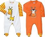 Baby Butt Schlafanzug 2er-Pack mit Druckmotiv Interlock-Jersey mandarine Größe 50/56