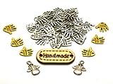 Kreativkomplettset  50 Hände  6 Goldhände  2 Engelanhänger 1 Holzlabel Hand Made Metall Knopf...