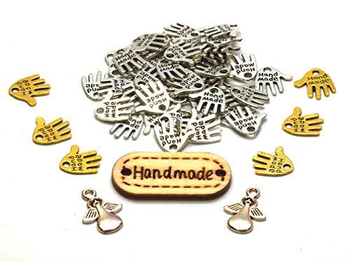 (Kreativkomplettset  50 Hände  6 Goldhände  2 Engelanhänger 1 Holzlabel Hand Made Metall Knopf Label Labelkomplettset Bastelset Anhänger Schmuckkperlen Bastelperlen Hand Schild)
