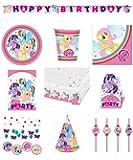 71-teiliges Party Set My little Pony Teller, Becher, Servietten, Tischdecke, Einladungskarten, Partykette, Partytüten, Trinkhalme, Hütchen, Deko-Konfetti