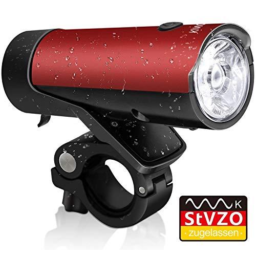 KINGTOP Fahrradlicht, Frontlicht, LED StVZO Zugelassen Fahrradbeleuchtung, USB wiederaufladbare Vorderlicht, IPX4 wasserdicht,2600mAh Akku,2-in-1 Design für Nachtfahrer,Radfahren und Camping,Rot