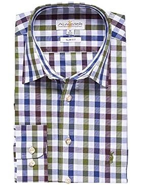 Almsach Trachten Herren Trachtenhemd blau-grün-braun slimfit 112401