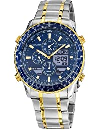 Accurist Men's Quartz Watch with Blue Dial Analogue Digital Display and Multi-Colour Stainless Steel Bracelet Mb1031N
