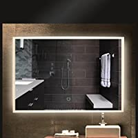 ALOTOA Espejo de baño para tocador y espejo Espejo de baño con iluminación LED / espejo de pared Grande / espejo de luz / espejo Baño 18W Neutral blanco 4000k AC 220V con interruptor, taladrado, montaje en pared