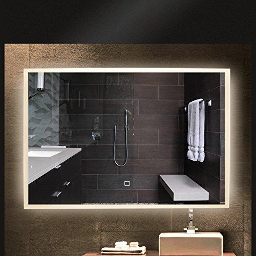 Alotoa 18w 80 * 60cm specchio del bagno lampada a led, specchio della camera da letto led lampada a specchio illuminazione vanity mirror vanity vetro luminoso solido temperato a prova di esplosione (4000k bianco naturale) [classe energetica a ++]