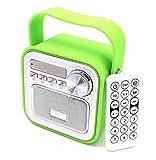 Mini altoparlante Bluetooth con radio FM, verde, AUX, Bluetooth, USB, telecomando, ora, da cucina, radio da bagno, radio per bambini, portatile, con manico, jack da 5 W