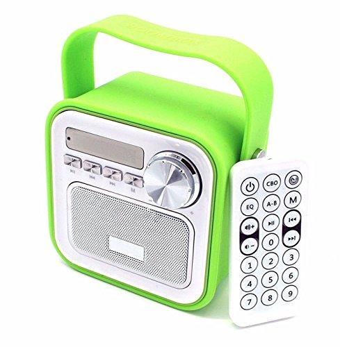 Easy valyou Küchenradio Badradio Grün Mini Bluetooth Lautsprecher mit Radio FM Fernbedienung Dusche Kinderradio Badezimmer Bad Aux Retro USB Anschluss für Küche Uhrzeit tragbar klein Bass Duschradio