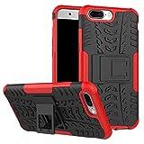 DBIT OnePlus 5 Coque,Haute qualité Robuste Durable Étui protection Shell Housse Coque TPU/PC Étui Case Cover avec Béquille pour OnePlus 5,Rouge
