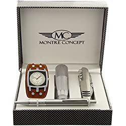 Montre Concept CCLA262 Men's Watch with Multifunction Knife, Torch and Ballpoint Pen with Gift Box, Camel