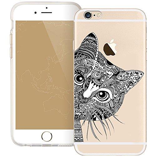 iPhone SE Case, iPhone 5S 5 Silicone Cover, UCMDA Soft Transparent Clear Slim Bumper Case, Shock-Absorption Cover with Anti-Scratch Back - Cute Panda Hide and Seek Cat