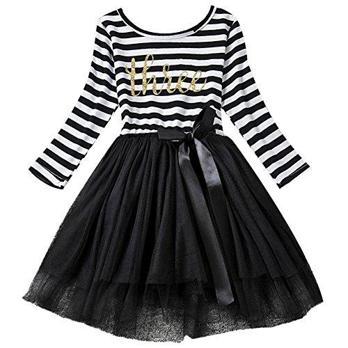 Neugeborene Säuglings Kleinkind Baby Mädchen Ist es Mein 1. / 2. / 3. Geburtstags Gestreiften Tüll Tütü Prinzessin Kleid mit Bowknot Partykleid Fotoshooting Outfits Kostüm Schwarz