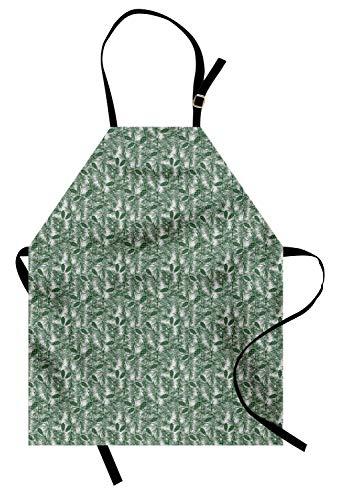 Kiefern-Kegel-Schürze, süßes botanisches Design mit Nadeln verzweigt sich Winterwaldlaub, Unisexküchen-Schürze mit justierbarem Hals für das Kochen des Backens Gartenarbeit, Forest Green Pale Taupe