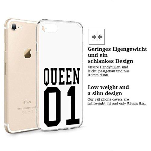 finoo | iPhone 8 Plus Weiche flexible Silikon-Handy-Hülle | Transparente TPU Cover Schale mit Motiv | Tasche Case Etui mit Ultra Slim Rundum-schutz | Cute but psycho Queen one weiß