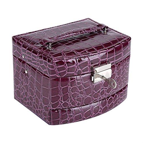 3 Capas Cajas para Joyas, joyero de viaje portátil con espejo Regalo de La Vendimia para Las Mujeres suministros para el Hogar(Purple)