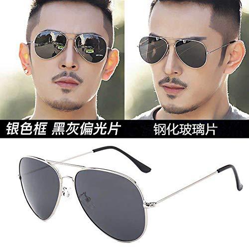 CFLFDC Sonnenbrillen Temperierte Glasbrille Sonnenbrille Männliche Fahrer Polarisierende Brille Polarisierende Fahrt Silberner Rahmen schwarze Grautscheiben (Glaslinsen)
