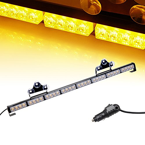 Ediors® Auto Truck 35.5 LED Traffic Adviser / Advising Emergency Vehicle Directional Warning Strobe Light Bar - Amber by Ediors (Dash Emergency Lights)