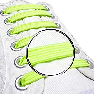 Pack of 20, No Tie Elastic Shoelaces By Maxstrapz Fabric Style Alternative to Silicone, Super Stretch Nylon Shoe Laces for Kids or Adults, Redesigned Brand New Product (Yellow (Medium))