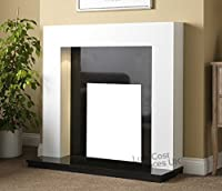 """Large Gas or Electric White Surround Mantel Black Granite Stone Wall Big Fireplace Suite Lights Spotlights 54"""""""