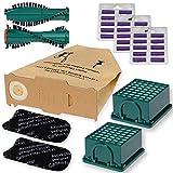 66 tlg Sparset 30 Staubbeutel braun - Filterset und 30 Duft Flieder passt für Vorwerk Kobold 130 131